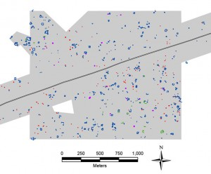 "Figure caption: Map of a portion of the area surveyed by UCRIP, in Yucatan, Mexico. The grey polygon represents the area that was surveyed. The colored items represent ancient features documented. The white ""hole"" at lower left is the area that we left un-surveyed."